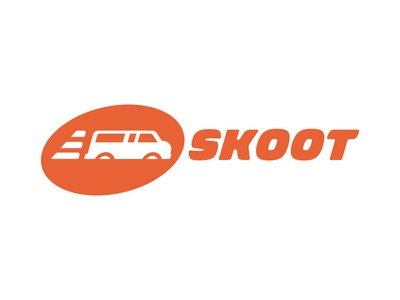 Logo Concept for an Airport Shuttle Company (05) logo skoot airport van shuttle wing wheel orange