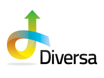Logo for Diversa arrow d diversa rainbow depth brand shadow