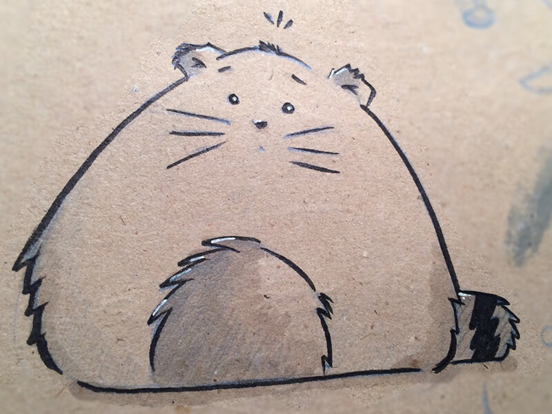 Furball round furry cute illustration fluffy sketch cat