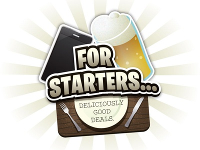 For Starters... Logo Concept (01) logo app beer food drinks cutlery table mobile social illustrator vector iphone deal for starters