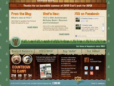 New Site Design for the YCC Summer Camp - 01 summer camp country camp ymca ycc redesign site natural wood texture fun wordpress