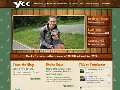 New Site Design for the YCC Summer Camp - 02 summer camp country camp ymca ycc redesign site natural wood texture fun wordpress