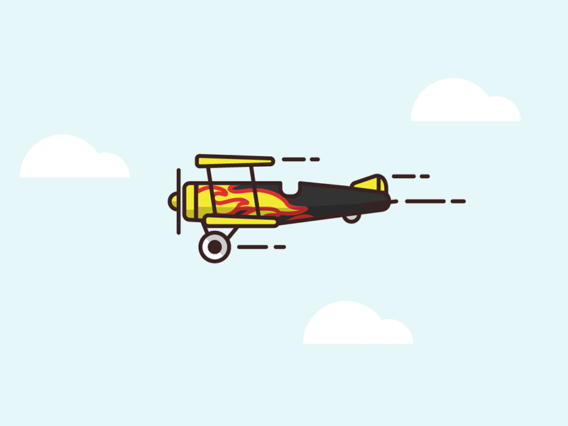 "Biplane ""Fire"" fire biplane plane flight sky linework illustration mobile vector unity game"