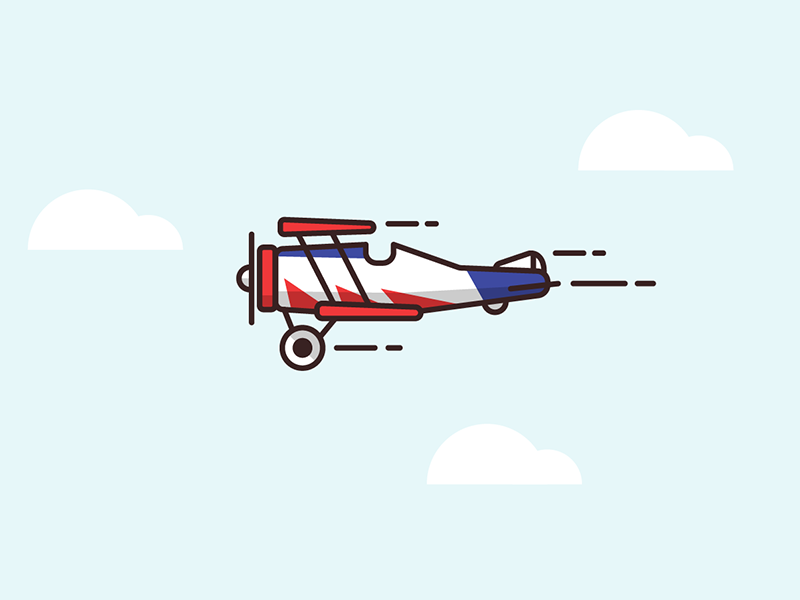 Biplane for show show biplane plane flight sky linework illustration mobile vector unity game