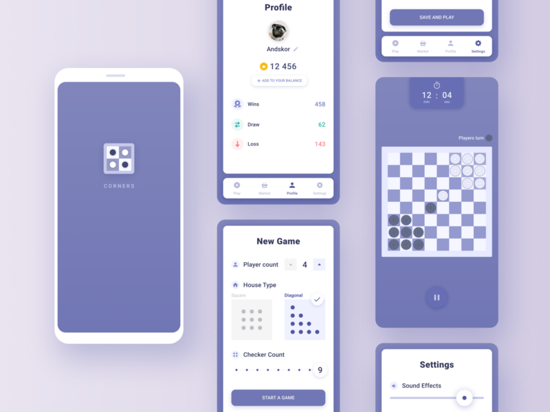 """""""Corners"""" game on Unity3D engine tab bar settings splash profile leaderboard checkers checkerboard android clean violet blue design app mobile ios ux ui game app game design game ui"""