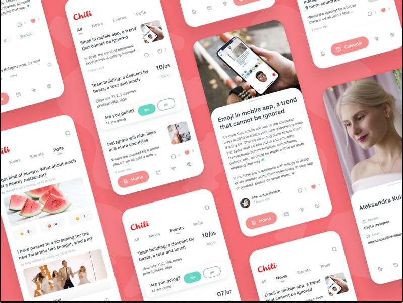 Chili Labs App social article news portal pink survey minimal news cards cards mobile tabbar polls red flat design clean branding app ios ux ui