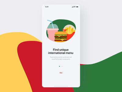McTravel App Onboarding charts product design onboarding animation mcdonalds travel reward qr iphonex ios food dailyui burger ios app mobile branding interaction uiux ui analytics