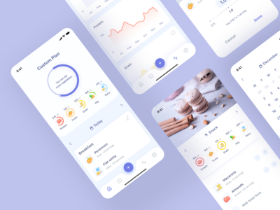 FoodyLife's App Redesign Concept app design review tabbar dish meal planner meals calories tracking calories meal food app food tracker clean android ios mobile ui mobile food interface app mobile app