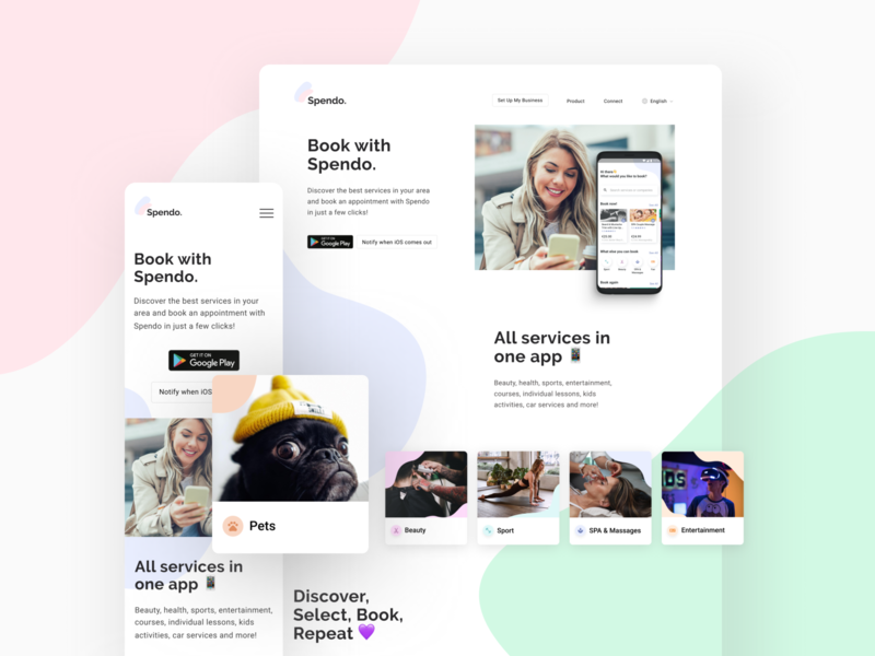 Landing Page for Spendo App cards android booking app landingpage webdesign design app mobile ux ios ui