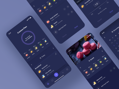 FoodyLife's App Dark Redesign Concept user experience article iphone analytics android ios clean redesign concept design branding dark theme dark ui mobile uiux usability analysis usability meal planner medium