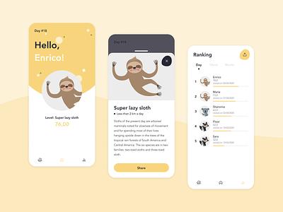 Lazy sloth - The less you move the better app ux ui uxdesign app design mobile app design walking steps sloth mobile app mobile confinement
