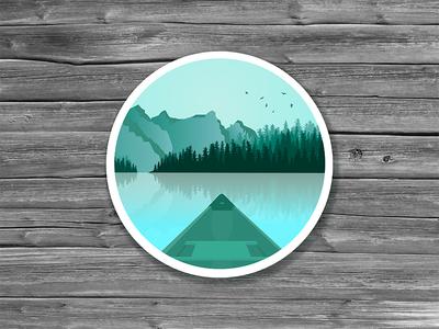 Canada sticker national park nature landscape illustration trees lake mountains canada sticker