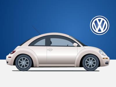 New Beetle new beetle profile vintage volkswagen minimalist car illustration