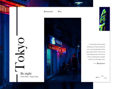 Travel blog - Art 1, Tokyo by night 🎎🐕🇯🇵 desktop ux ui minimalist night tokyo travel article blog