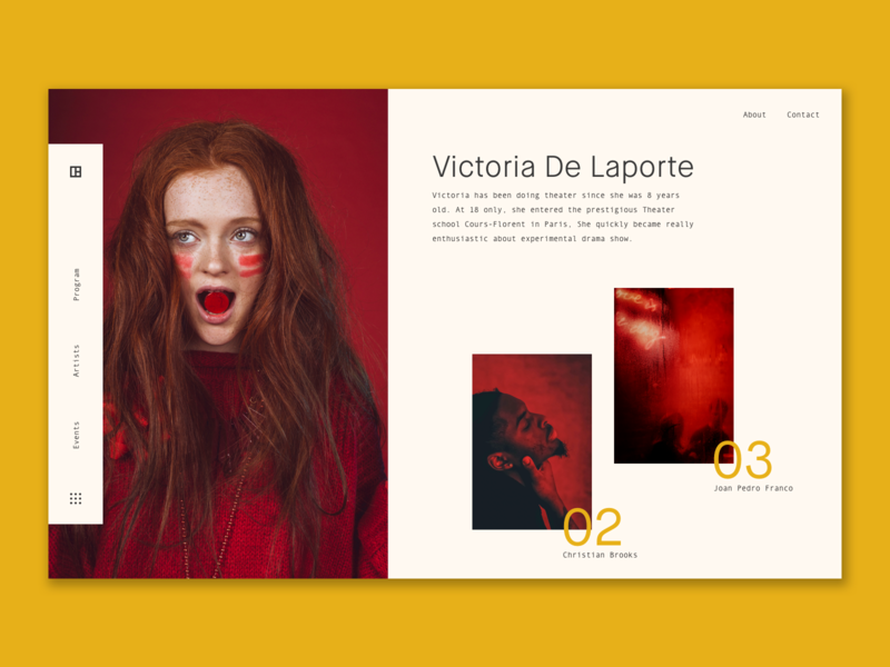 Theater festival - artists page 🎭 festival landing design sketch app red and yellow theater artist art minimalist ux ui