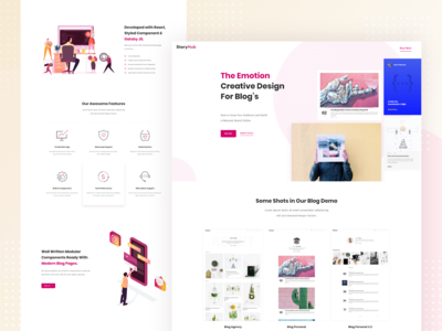 StoryHub - Creative Landing Page For Blog's