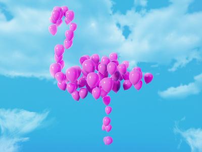 Flamingo Balloons photoshop blender3d render blender sky balloon pink flamingo