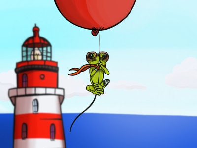 Flying Frog digital balloon lighthouse pocreate frog