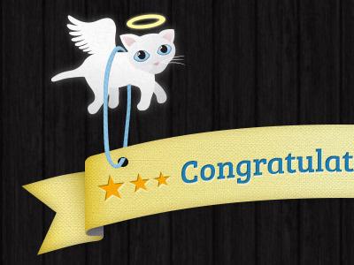 Gold Star Banner Award texture illustration kitten angel gold star banner