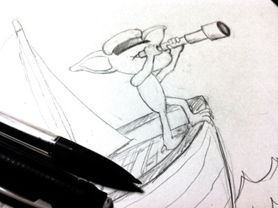 searching gremlin illustration sketch pencil gremlin searching sailing