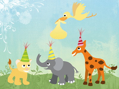 Baby animal party illustration baby animals baby shower invitation texture party hats