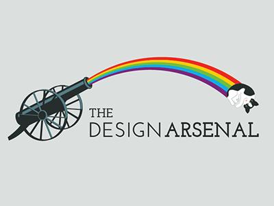 The Design Arsenal rainbow logo cat illustration typography