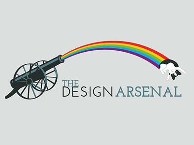The Design Arsenal variation rainbow cat logo typography