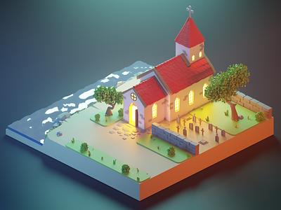 Somewhere in Iceland blender 3d blendercycles blender night iceland church toy cartoon isometric art 3d illustration