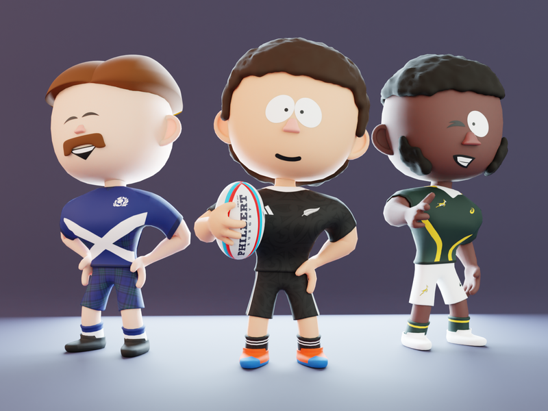 Rugby boyz humans ball rugby scotland rugby south africa rugby new zealand rugby indie game blender concept art video game art toy design cartoon character 3d art character design