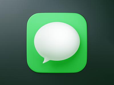 Messages icon practice 3d icon 3d shiny soft shadows mac ios dimension bubble fun blender icon app