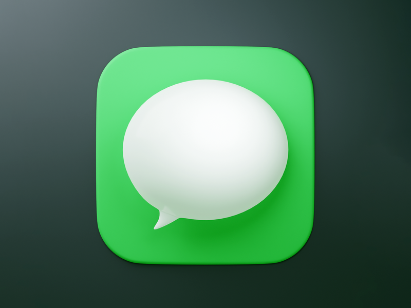 Messages icon practice 3d icon 3d shiny soft shadows mac ios dimension bubble fun blender icon app
