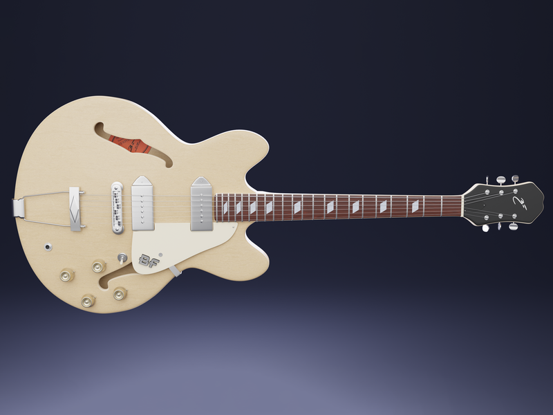 An Achtop Electric Guitar productshot cgi cycles render wood electric guitar 3d art blender3d blender hollow body archtop casino epiphone guitar