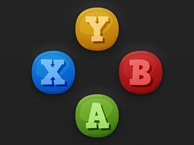 Game UI Buttons - XBOX 360 cartoon xbox 360 xbox xbox360 gamepad game ui gui hud game art button ui