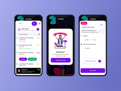 kalina invoice app Dark UI abstract buttons invoice app screen digital clean dark ui colorful hookandhub minimalist welcome page sophisticated studio ui user experience motion design intraction uxdesign uiux mobile app design
