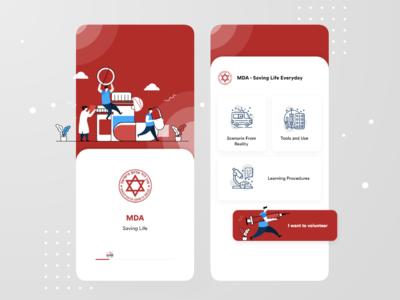 MDA saving life app UI in progress