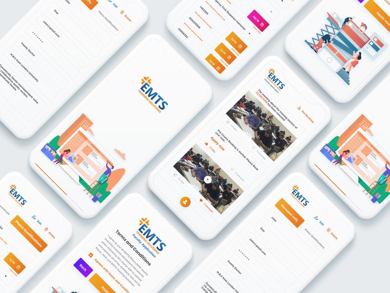 EMTS Training solution branding icon typography web app design illustration ui app ux form training solutions