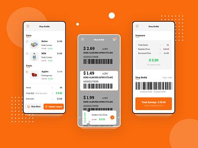 Shop Buddy Coupon app UI in Progress app ux ui minimal ux design ui design app design money summary shop scanning qrcode coupons