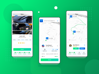 Qweek Car Service App UI Design branding minimal ux ui app design ux design ui design app progress status rating location service car