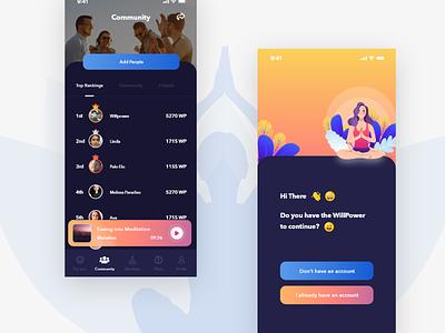 Meditation App UI in Progress trend 2019 2019 trendy ux ui typography illustration minimal ux design app design ui design ranking dark theme dark ui colorful meditation app meditation