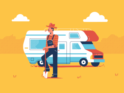 Time for Trips flat dots character guy man car rv