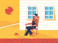 man on rocking chair