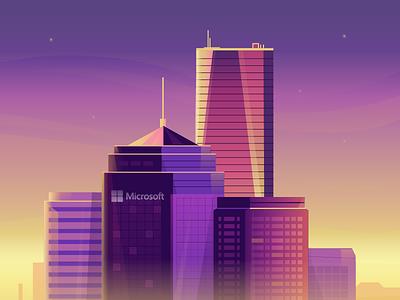 Microsoft headquarters skyscraper building microsoft