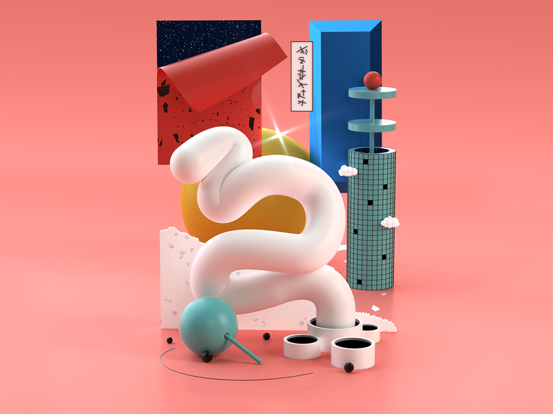 3D Random Plastic Thoughts II shapes geometry render octane illustration 3d