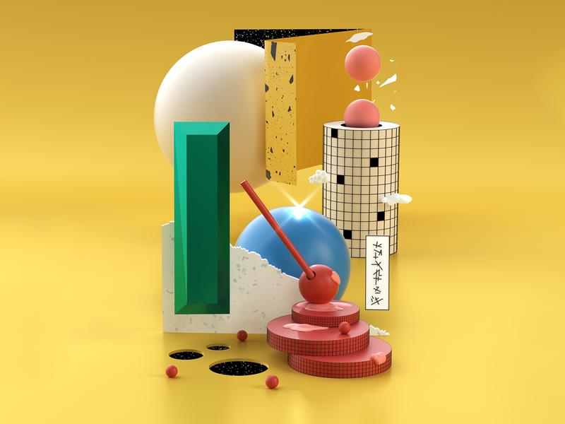 3D Random Plastic Thoughts IV space candy shapes geometry octane illustration design 3d
