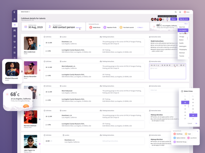 Callsheet for Photoshoot scheduling purple theme creativity model clean neat design photoshoot dashboard ui light theme uidesign designs