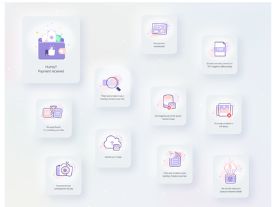 Iconography for Marketing platform empty states icon empty states iconset neumorphic purple color clean ui minimalist flat ui icons illustration creative ui quovantis design