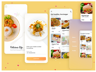 Quovantis Food App food app design indian foo indian foo yellow theme order food food app ui food app ui creative quovantis design