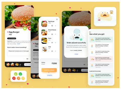 Quovantis Food App food app design yellow theme order food food app @creativity illustration @design quovantis ui design