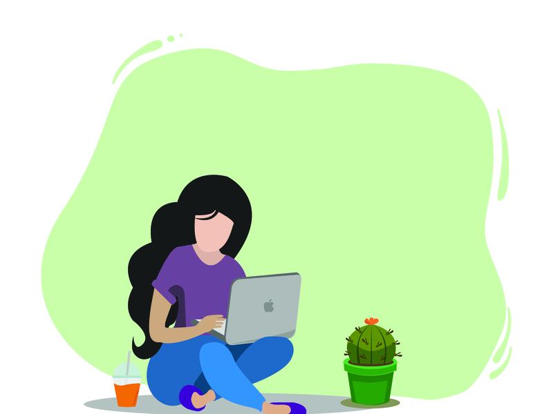 Time To Relax orange juice cactus laptop relaxing flatdesign characterdesign vector illustration design