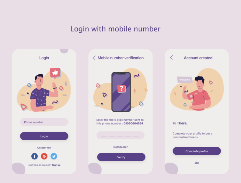 Login Flow ios mobile login social media login login form registration signup signin login flow design ux ui sketch mobile application mobile app